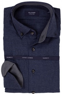 OLYMP Signature tailored fit Hemd Button-Down Cotton-Cashmere Hahnentritt marine-grau