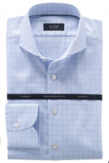OLYMP Signature tailored fit Hemd Haifisch Karo bleu-braun