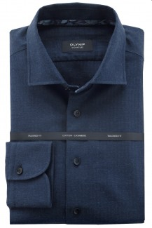 OLYMP Signature tailored fit Hemd Kent Cotton-Cashmere marine