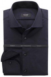 OLYMP Signature tailored fit Hemd Kent Diagonal Streifen marine