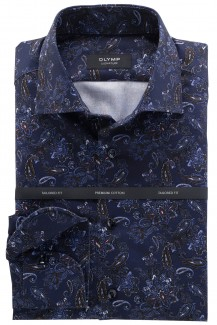 OLYMP Signature tailored fit Hemd Kent Paisley Muster marine-braun