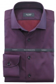 OLYMP Signature tailored fit Hemd Kent Tropfenstruktur chianti