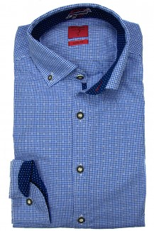 OLYMP Trachtenhemd Level Five Casual body fit Button-Down Karo Print blau