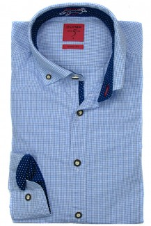 OLYMP Trachtenhemd Level Five Casual Button-Down Karo Print hellblau