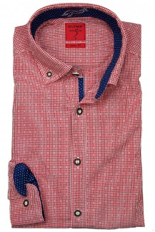 OLYMP Trachtenhemd Level Five Casual Button-Down Karo Print rot