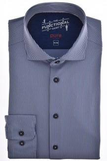 Pure Functional Shirt slim fit Haifisch Fineliner marine-bleu