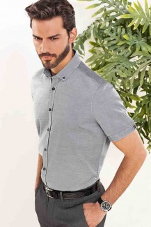 Pure Kurzarm Hemd slim fit Mini Button-Down Struktur mittelgrau