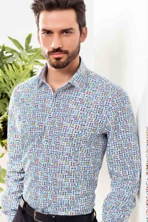 Pure Hemd slim fit Kent Brillendruck multicolor