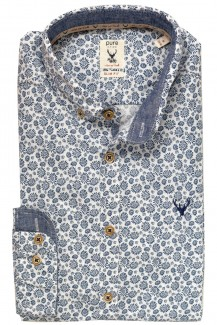 Pure Trachtenhemd slim fit  Button-Down Pusteblume marine-weiß