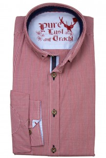 Pure Trachtenhemd slim fit kleiner Button-Down Karo rot