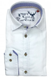 Pure Trachtenhemd slim fit Under Button-Down weiß