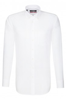 Seidensticker Hemd regular fit Button-Down Fil à fil weiß