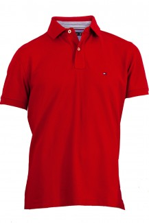 Tommy Hilfiger Polo Tripped regular fit Pique in rot