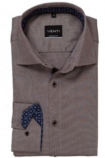 Venti Hemd 72er-Arm modern fit Kent Würfel Patch braun
