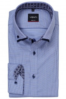 Venti Hemd body fit Doppelkragen Button-Down Mausezahn marine-weiß
