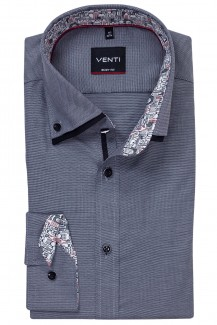 Venti Hemd body fit Doppelkragen Button-Down Stadt Patch anthrazit