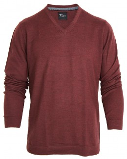 Venti V-Pullover Merinowolle weinrot